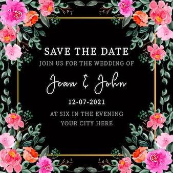 Quadro de convite de casamento floral aquarela