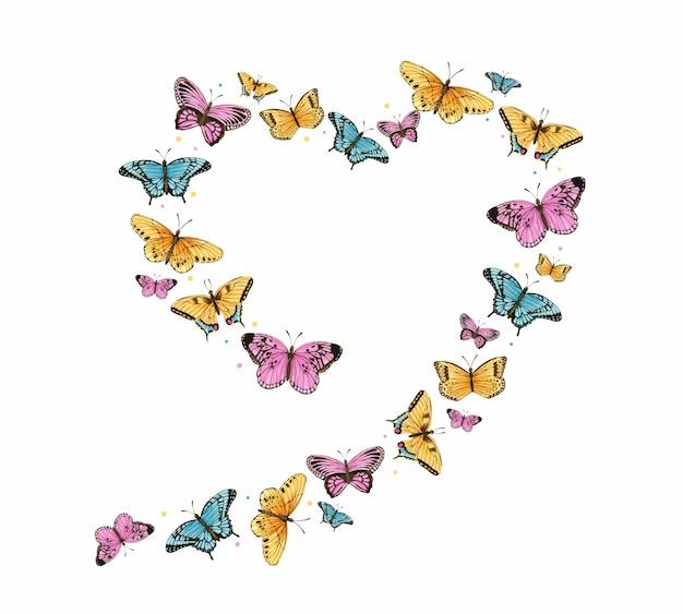 Quadro de coração borboleta aquarela