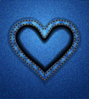 Quadro de coração de jeans