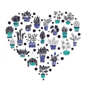 Quadro de coração de plantas potted em casa