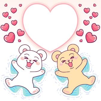 Quadro de coração de ursos fofos