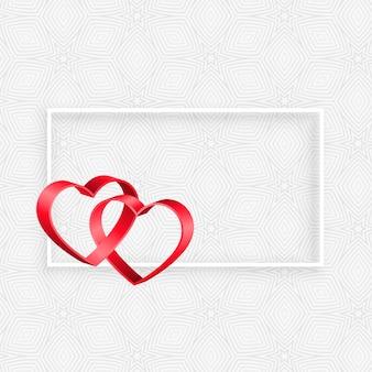 Quadro de corações de fita 3d com espaço de texto