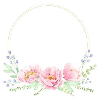 Quadro de coroa de flores com arranjo de buquê de flores em aquarela