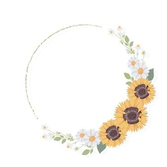 Quadro de coroa de flores de girassol amarelo