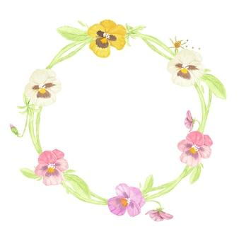 Quadro de coroa de flores em aquarela colorida de amor-perfeito isolado no branco