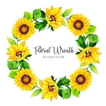 Quadro de coroa de flores em aquarela