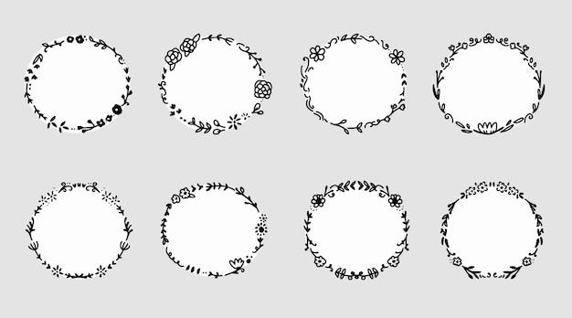 Quadro de coroa de flores em círculo para decoração