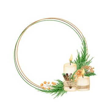 Quadro de coroa de natal boho com galhos de pinheiro, vela, pau de canela, anis estrelado, laranja. bordas vintage em aquarela