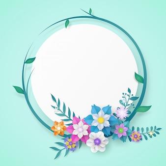 Quadro de corte de papel de flor