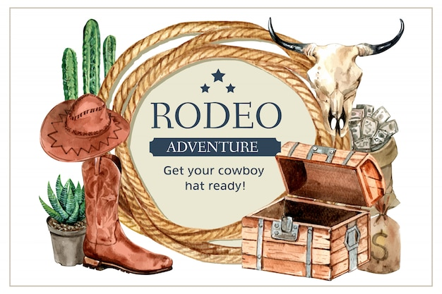 Quadro de cowboy com corda, cacto, botas, chapéu, crânio, dinheiro