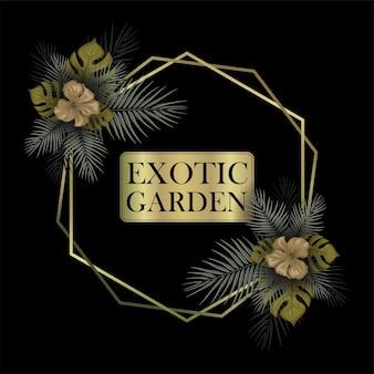 Quadro de decoração floral exótica com modelo de texto