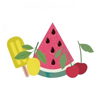 Quadro de deliciosas frutas tropicais