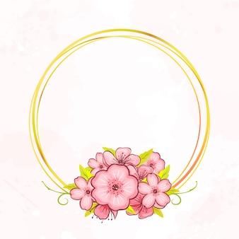 Quadro de desenho dourado botânico círculo