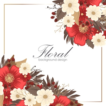 Quadro de desenho - vermelho de fronteira de flor
