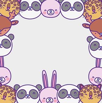 Quadro de desenhos animados de animais fofos
