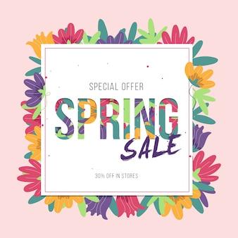 Quadro de design plano de vendas de primavera