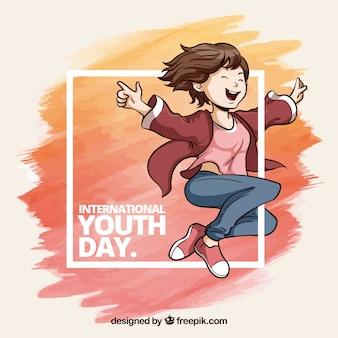 Quadro de dia da juventude aquarela com pinceladas de aquarela e menina