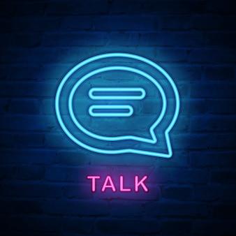 Quadro de diálogo de ícone de luz de néon iluminada