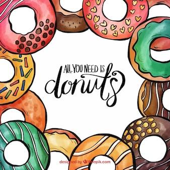 Quadro de donuts em aquarela