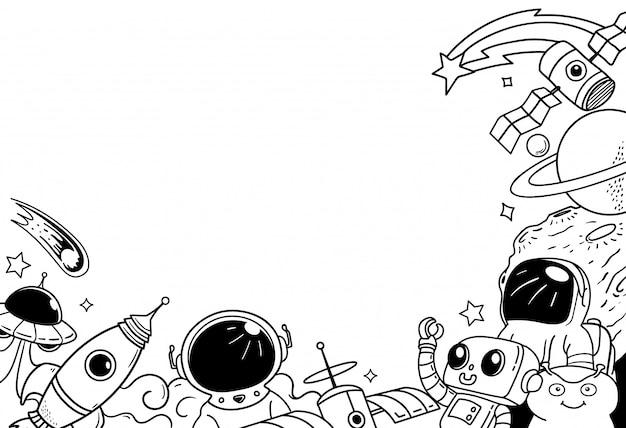 Quadro de doodle de espaço