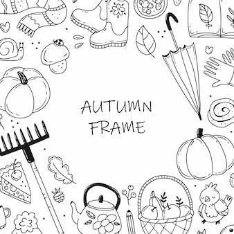 Quadro de doodle redondo preto e branco com elementos de outono. ilustração em vetor