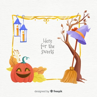 Quadro de elementos de bruxa halloween