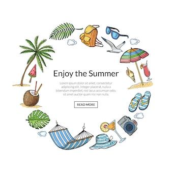 Quadro de elementos de viagens de verão com modelo de texto