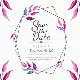 Quadro de estilo de folha de cartão de casamento Vetor Premium