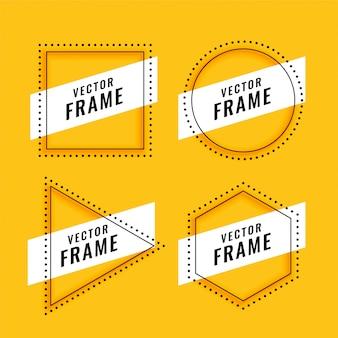 Quadro de estilo de linha definido em amarelo