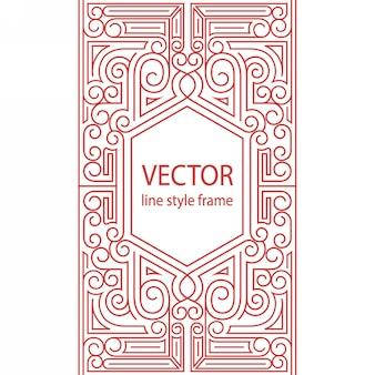 Quadro de estilo linear geométrico - borda art deco para o design de capa de caderno de desenho