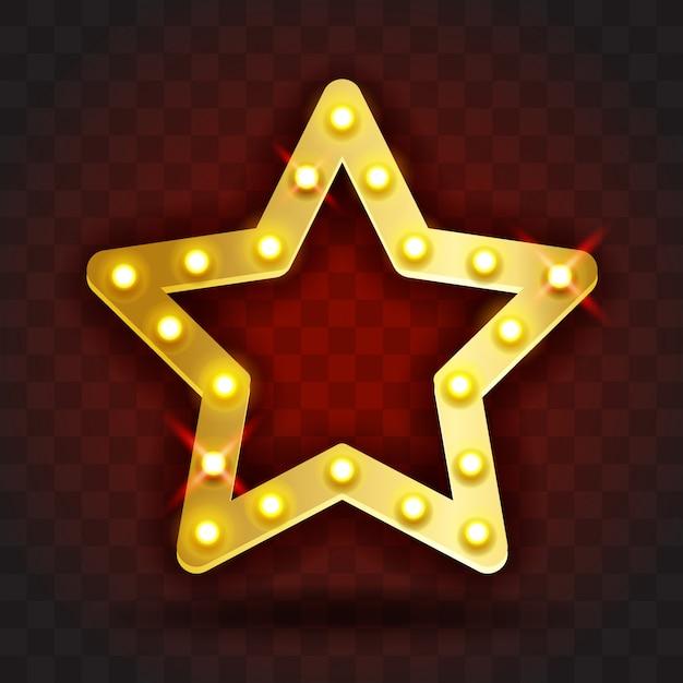 Quadro de estrela retrô show time assina ilustração realista. quadro de estrela ouro com lâmpadas elétricas para desempenho, cinema, entretenimento, cassino, circo. fundo transparente