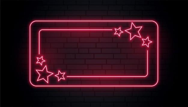 Quadro de estrelas de néon vermelho com espaço de texto