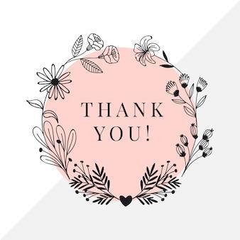 Quadro de etiqueta de agradecimento
