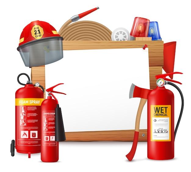 Quadro de extintor de incêndio com pedaço de papel claro na superfície de madeira com ilustração de unidades de garrafa de combate a incêndio