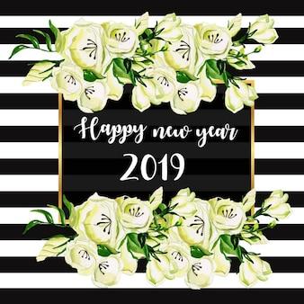 Quadro de faixa aquarela de ano novo