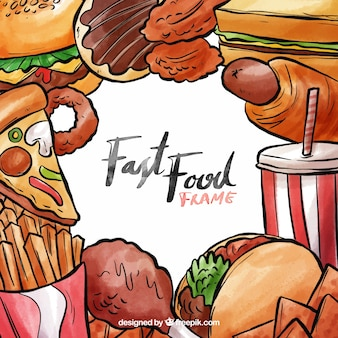 Quadro de fast-food de aquarela