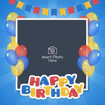 Quadro de feliz aniversário com bandeiras e balões coloridos