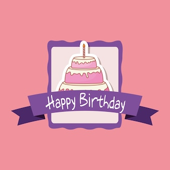 Quadro de feliz aniversário com bolo doce Vetor Premium