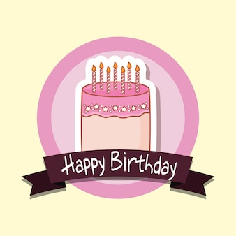 Quadro de feliz aniversário com bolo doce