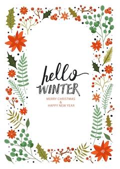 Quadro de feliz ano novo. olá inverno. Vetor Premium