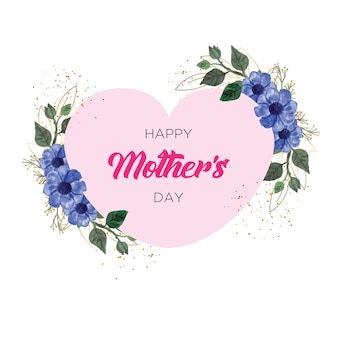 Quadro de feliz dia das mães com aquarela de flores