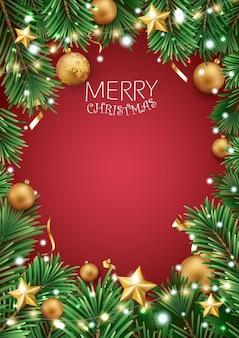 Quadro de feliz natal com pinheiro, flocos de neve e estrelas douradas