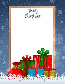 Quadro de feliz natal com presentes e copyspace