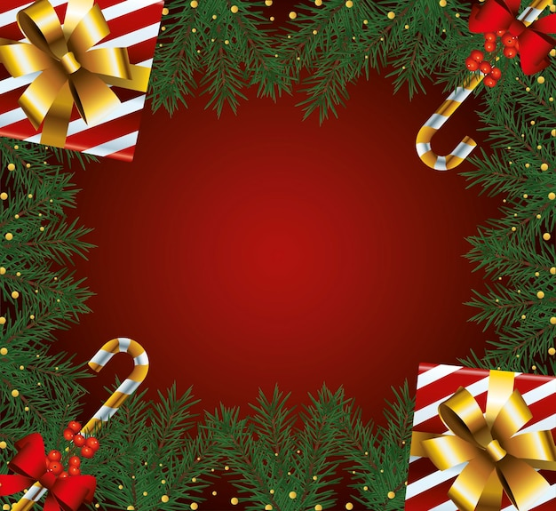 Quadro de feliz natal feliz com ilustração de presentes e bengalas