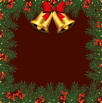 Quadro de feliz natal feliz com ilustração de sinos e folhas dourados