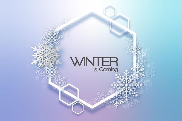 Quadro de férias de flocos de neve. cartão de férias de inverno para web, banner, convite, folheto e assim por diante. fundo de natal.