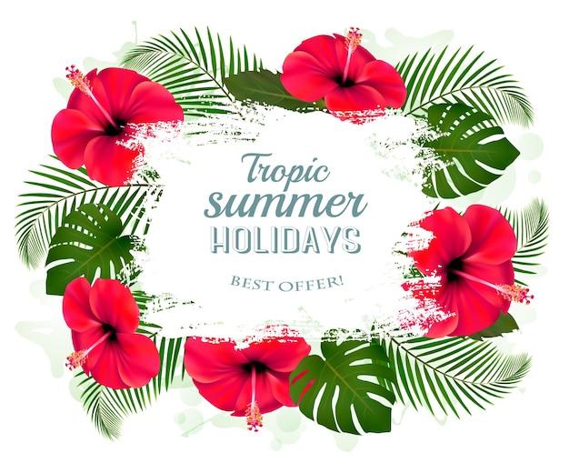 Quadro de férias de verão feliz com flores vermelhas e folhas tropicais.