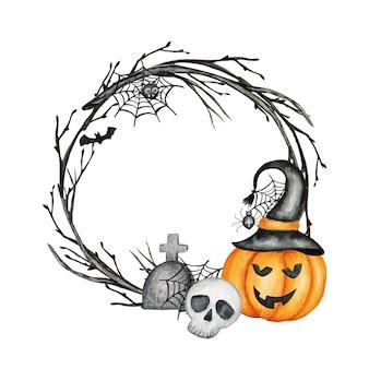 Quadro de festa de feriado de halloween feliz com abóboras jack o 'lantern, crânio, morcego, decorações de festa de aranha. ilustração dos desenhos animados em aquarela. cemitério assustador de halloween.