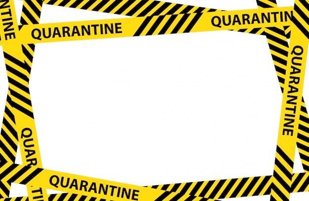 Quadro de fita de aviso de quarentena amarelo