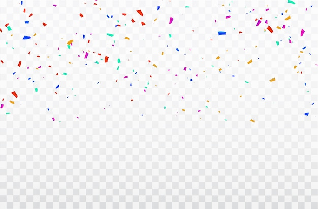 Quadro de fitas de confetes de celebração.